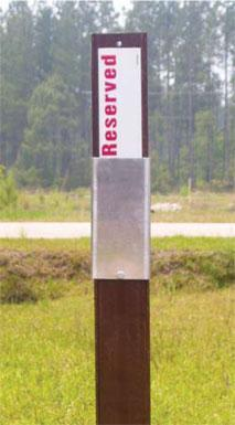 Carsonite Campsite marker with Reserved / Available decal attached