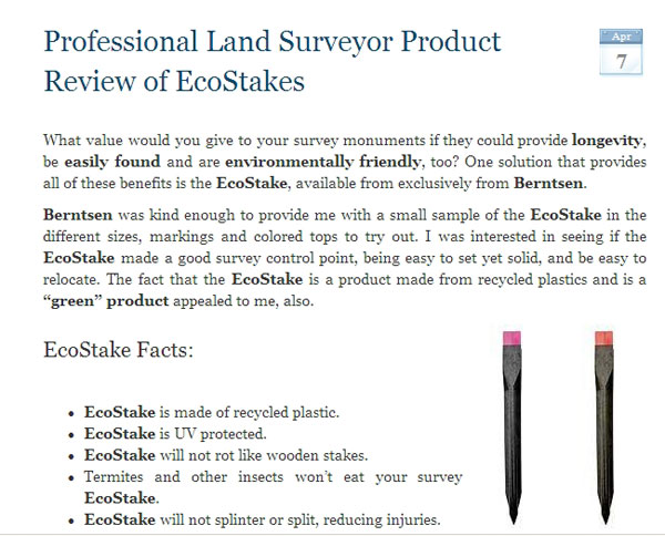 Professional Land Surveyor Product Review of the Ecostake by Berntsen