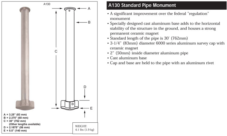 Berntsen A130 Aluminum Cast Base  Monument specification