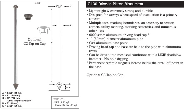 Berntsen G130 Drive-in survey monument