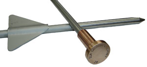 Berntsen Drive-in Rod monument with flange and custom bronze cap.