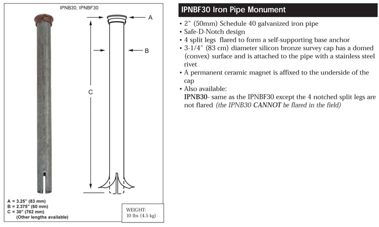 Berntsen Iron Pipe Magnetic Monuments