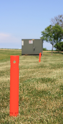 Plastic utility stakes for marking underground utilities