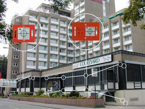 Reflective Surveying Targets used on a building facade