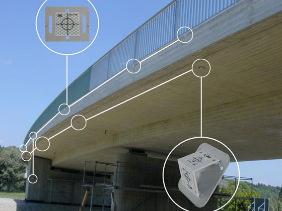 Bridge Construction being monitored for movement using reflective survey targets