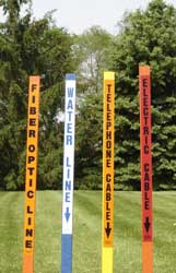 Carsonite ThinLine posts for marking underground cable and utility lines.