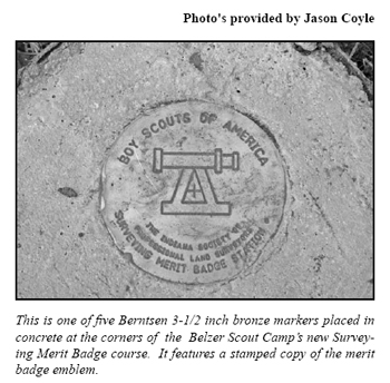 Berntsen concrete marker used for the surveying merit badge course at Belzer Scout Camp in Indiana.